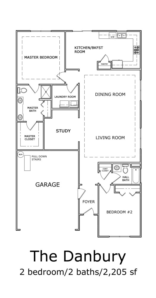 The Danbury 2-Bedroom Floor-plan