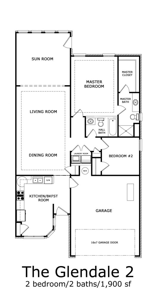 Glendale 2-Bedroom Floor-plan 1900 sf