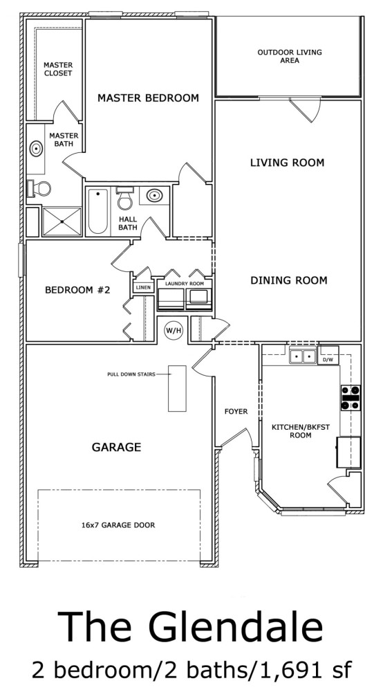 Glendale 2-Bedroom Floor-plan 1691 sf